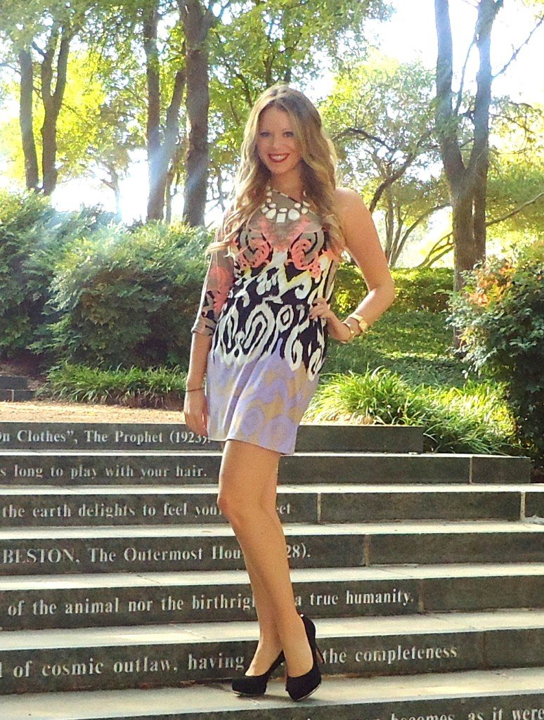 tibi print dress with vince camuto shoes